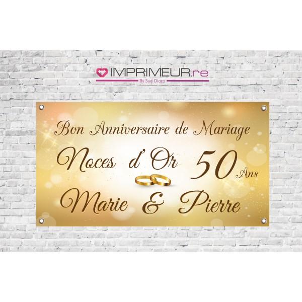 Banderole personnalis e anniversaire de mariage noces d 39 or for 50 robes de mariage anniversaire