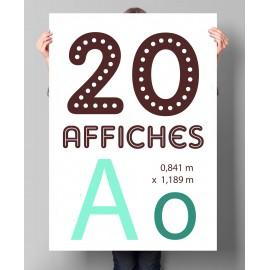 Lot de 20 affiches A0 en couleurs