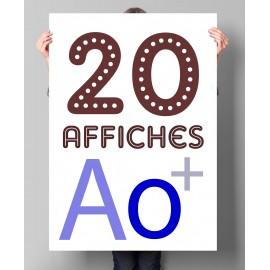 Lot de 20 affiches en couleurs A0+