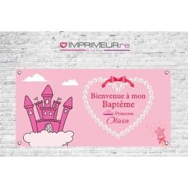 Banderole Baptême Princesse chateau coeur
