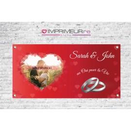 Banderole Mariage coeur rouge avec photo