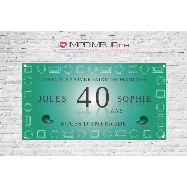 Banderole 40 Ans Noces Démeraude