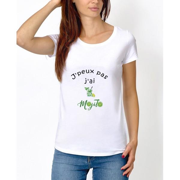 """Tee-shirt : """" J'peux pas j'ai la flemme """" - Femme"""