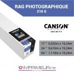 CANSON® INFINITY RAG PHOTOGRAPHIQUE 210 OU 310 G/M² - MAT